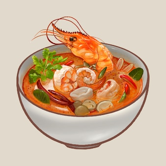 Tom Yum Kung soup illustration