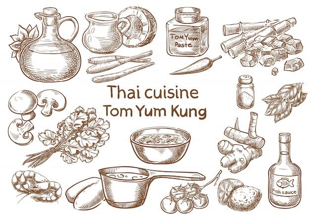 タイ料理。 tom yum kungの食材ベクトルスケッチ。