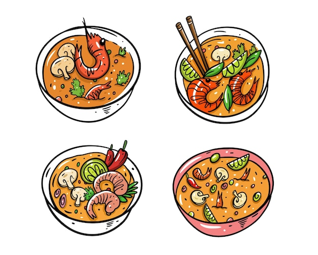 Tom yum set. cartoon