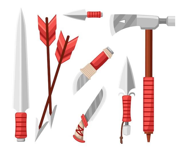 トマホークの斧、ナイフ、短剣、矢。生存のためのアイテム、冷たい鋼の腕。白い背景の上の図
