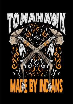 Томагавк, сделанный индейцами, ретро-дизайн, иллюстрация одежды, иллюстрация томагавка, дизайн футболки