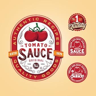 トマトソースバッジロゴテンプレート Premiumベクター