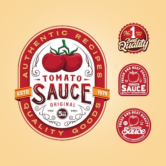 Шаблон логотипа значка томатного соуса