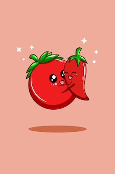 채식주의 날 만화 삽화의 토마토와 고추
