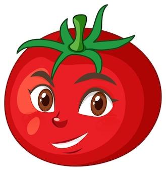 白い背景の上の幸せな表情とトマトの漫画のキャラクター