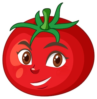 Tomato cartoon character with happy face expression on white background