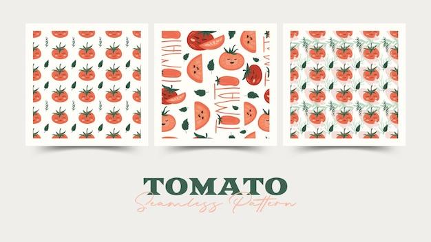 토마토 만화 원활한 패턴 세트