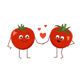Tomato character with emotion funny or happy heroes red fruit