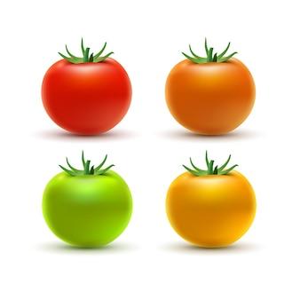 白で隔離されるカラフルなトマト。