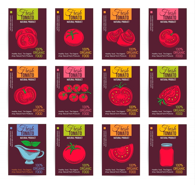Tomato design set of banners.