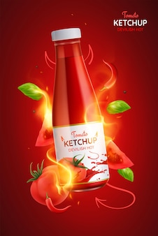 Tomato devilish hot spicy ketchup realistic poster illustration