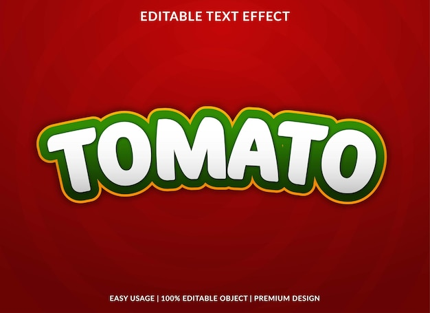 Tomato editable text effect template premium vector