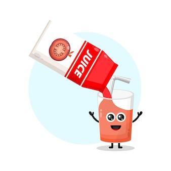 토마토 주스 상자 유리 귀여운 캐릭터 로고