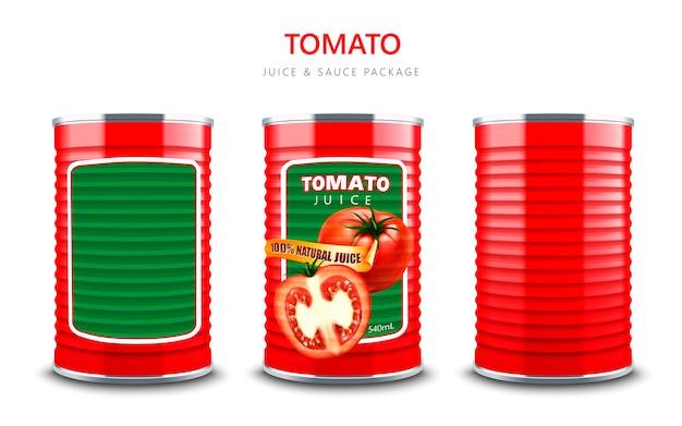 Томатный сок или пакет соуса, красный металлический контейнер в 3d иллюстрации, изолированные на белом фоне
