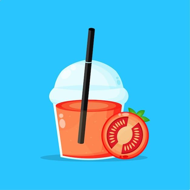 Tomato juice in plastic cup icon
