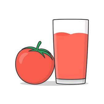 Томатный сок с помидорами значок иллюстрации