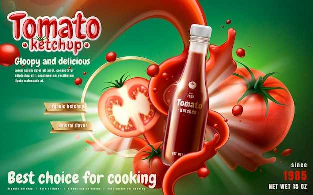 Tomato ketchup ad with tomato sauce flow effect green background 3d illustration