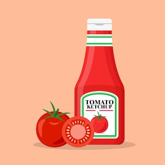 Tomato ketchup bottle with fresh tomatoes