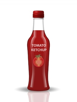 Tomato ketchup in a glass bottle,  realistic style. papkrika red sauce, chili.  for your product .  on white background.  illustration.