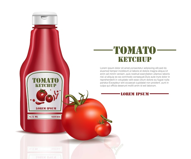 Tomato ketchup sauce product mock up isolated on white background