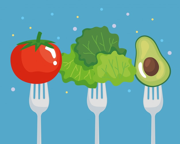 Tomato lettuce and avocado on fork