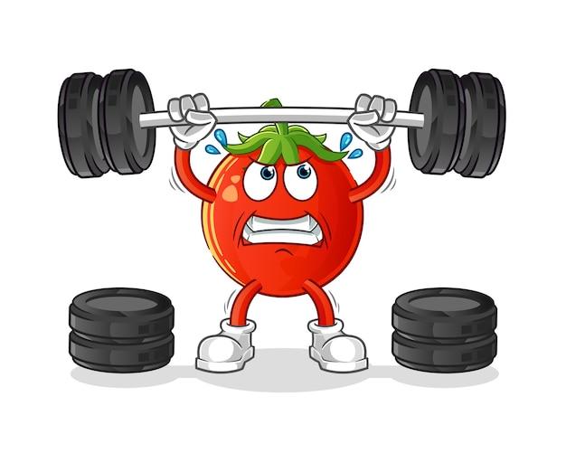 바벨 만화 캐릭터를 드는 토마토