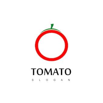 Томатный логотип, вектор дизайна этикетки веганской еды