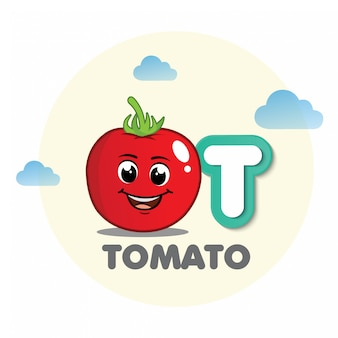 Tomato mascot with letter t