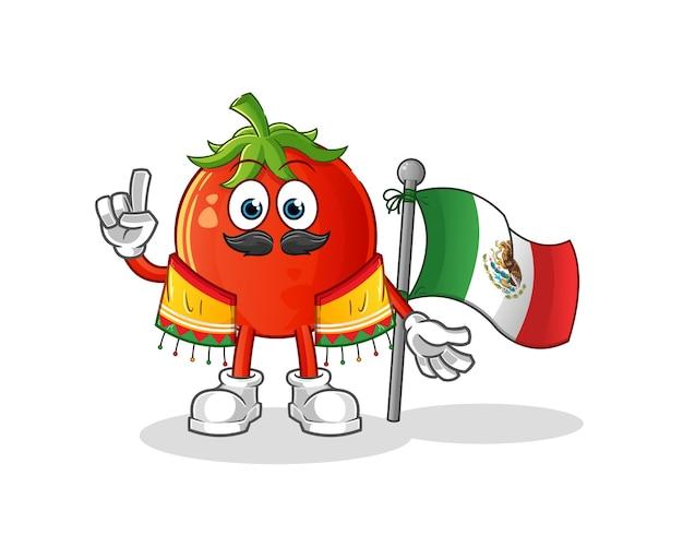 전통적인 옷감과 깃발 만화 캐릭터와 함께 멕시코 토마토
