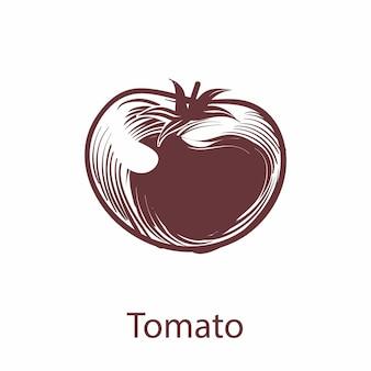 トマトオブジェクト。彫刻スタイルのラベルやパッケージの植物手描きエコ野菜スケッチ。レストランやカフェのメニューの料理のシンボル。ベクトル単一の分離された要素全体