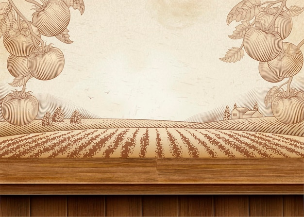 3d 그림 나무 테이블과 새겨진 필드 풍경 토마토 과수원 배경 프리미엄 벡터