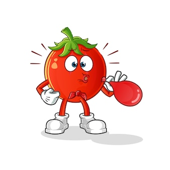 풍선 만화 캐릭터를 불고 토마토 무언극