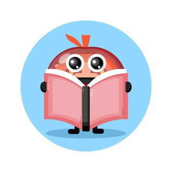 Tomato reading a book cute character logo