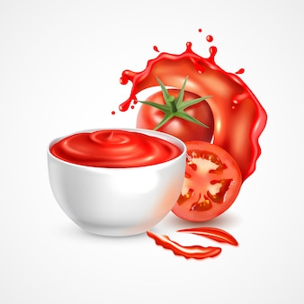 Tomato sauce bowl realistic composition with fresh whole vegetable and slice in splash of juice