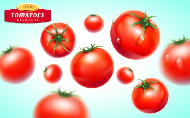 トマトセット。水滴と緑の葉の詳細な現実的な赤い完熟トマト