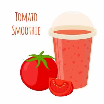 Tomato smoothie, tomato juice in cartoon style