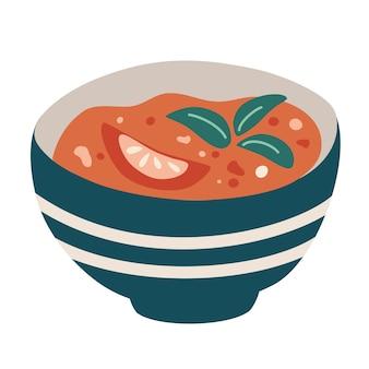 토마토 수프. 접시에 뜨거운 야채 수프입니다. 손으로 그리는 전통적인 스페인 토마토 수프 가스파초. 정통 수제 이탈리안 드레싱, 딥. 만화 벡터 일러스트 레이 션.
