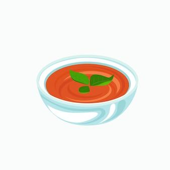バジルの葉のベクトル図と水色のボウルのトマトスープ