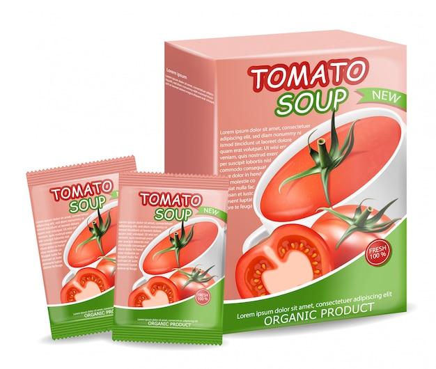 トマトスープパッケージ現実的で新鮮なトマト、天然物、パッケージ、インスタントスープ付きのピンクの箱、新鮮なトマト