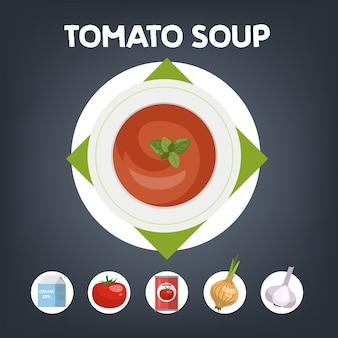 自宅で調理するためのトマトスープのレシピ