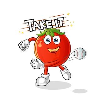 야구 만화 캐릭터를 던지는 토마토