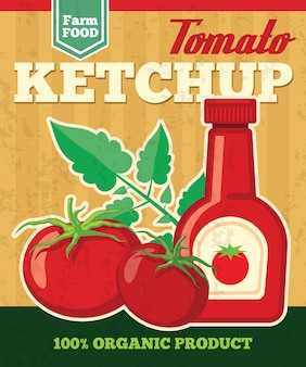 Томатный векторный плакат в винтажном стиле. овощной свежий, кетчуп, натуральный соус, иллюстрация