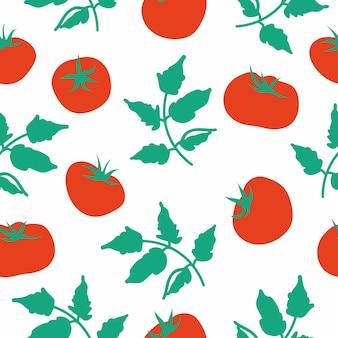 토마토 벡터 원활한 패턴 부엌 벽지 섬유 직물 종이에 대 한 끝 없는 질감