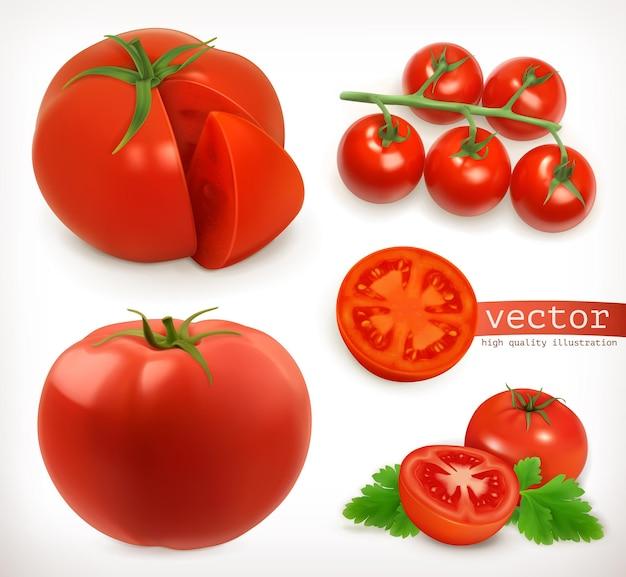 Помидор. овощной 3-й векторный символ установлен