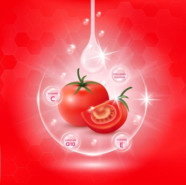 토마토 화이트 바디 세럼, 추출물 콜라겐 및 비타민.