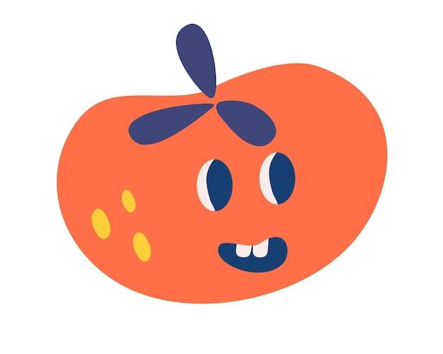 変な顔のトマト。健康食品。菜食主義。かわいいトマト野菜のキャラクターコンセプト。