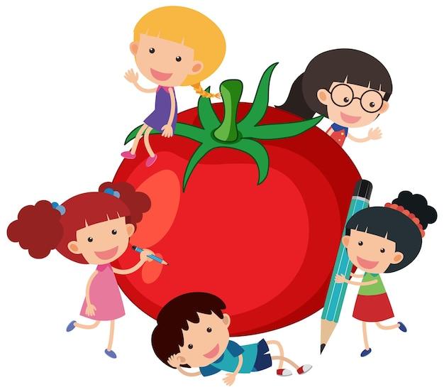 孤立した多くの子供たちの漫画のキャラクターとトマト