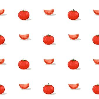 흰색 배경에 토마토와 얇게 썬 조각. 완벽 한 패턴입니다.