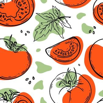 白地に赤と緑の色のスプラッシュとトマトとスライスのスケッチ