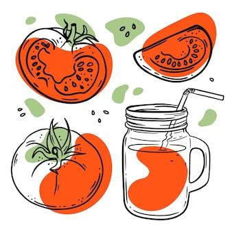 흰색 배경에 빨간색과 녹색 색상이 튀는 항아리 스케치에 있는 토마토와 토마토 주스